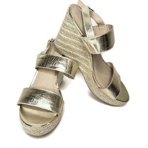 Montego bay club gold strappy wedge heels 9.5